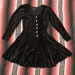 Vintage Nostalgia Crushed Velvet Black Dress